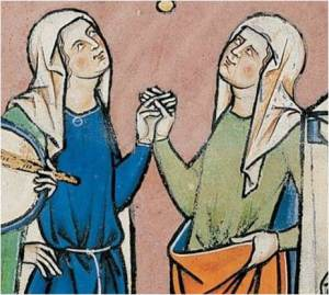 """1250. Iluminación de la Biblia de Maciejowski  (detalles): mujeres con velos y con """"griñón"""";"""