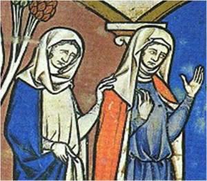 """1250. Iluminación de la Biblia de Maciejowski  (detalle): mujeres con """"griñón"""""""