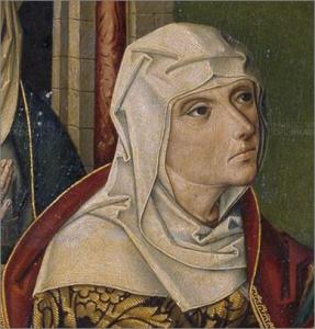 1490. La Visitación, Maestro de Miraflores, Retablo de San Juan Bautista, Museo del Prado, Madrid (detalle)