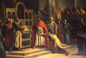 IND134611 The Oath of Santa Gadea, El Cid Campeador (c.1043-99) extracts an oath from Alfonso VI (c.1040-1109), the King of Castille, that in the Year 1072 he had no part in the murder of his brother Sancho II (c.1083-1072) (oil on canvas) by Hiraldez de Acosta, Marcos (b.1830) oil on canvas Palacio del Senado, Madrid, Spain Index Spanish, out of copyright